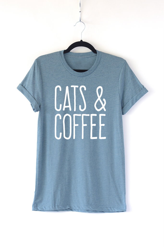 Lucky Franklin Cats and Coffee Adult Crewneck Tee in Denim