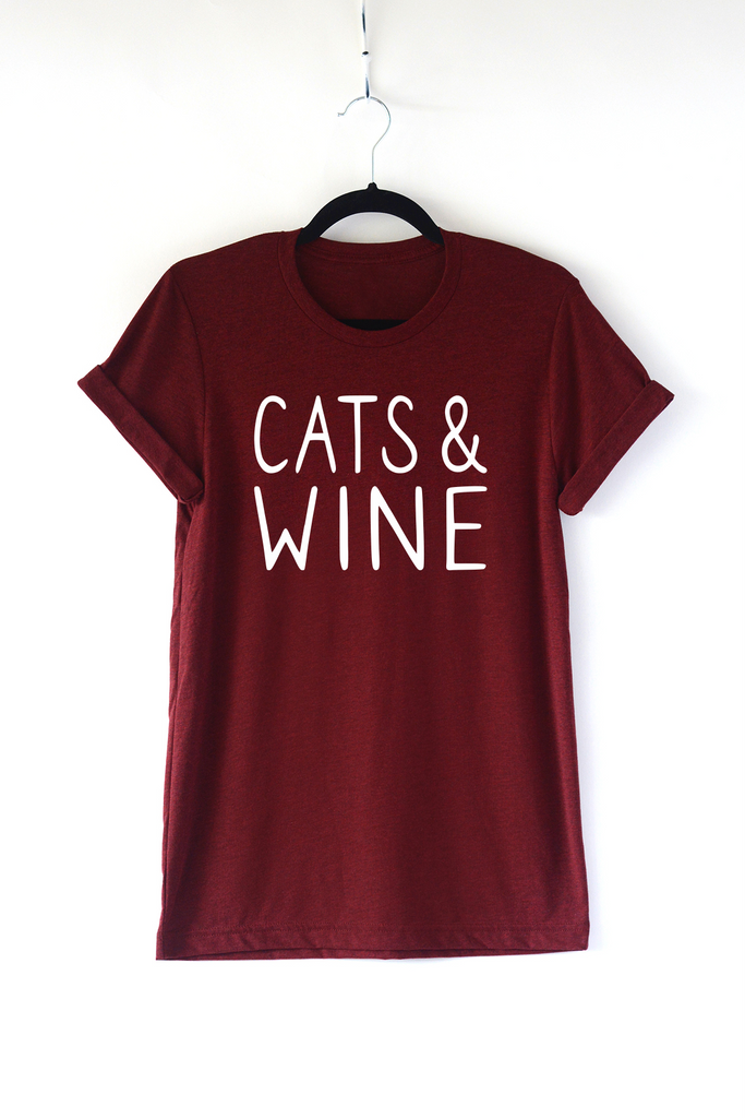 Lucky Franklin Cats and Wine Adult Crewneck Tee in Cardinal
