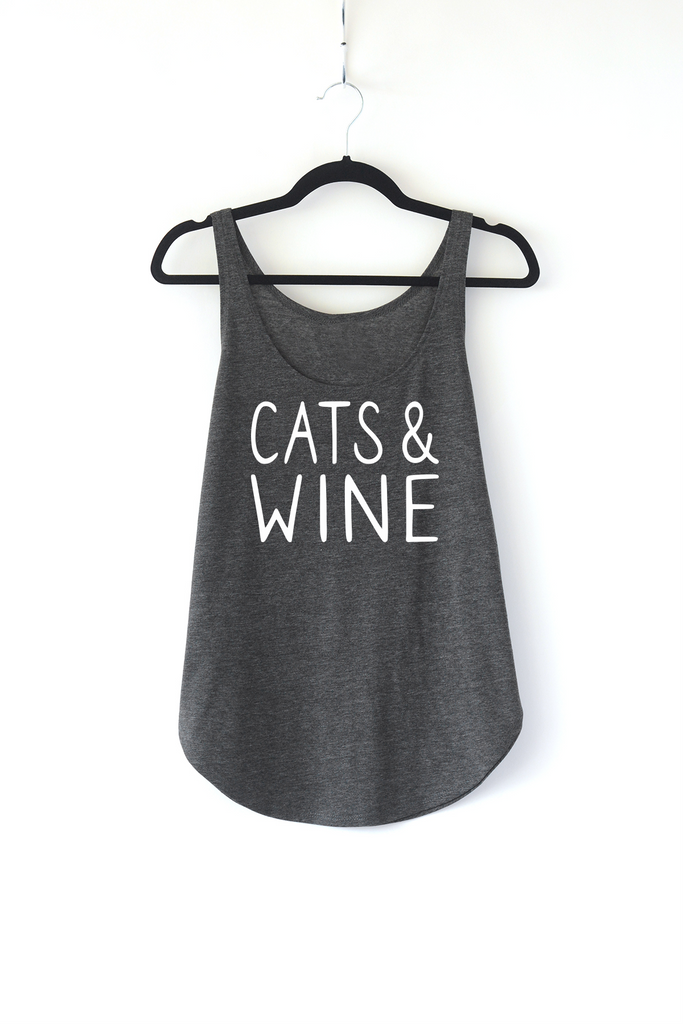 Lucky Franklin Cats and Wine Ladies Tank Top in Dark Grey