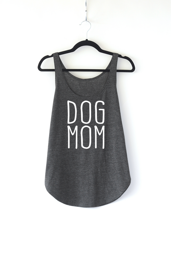 Lucky Franklin Dog Mom Ladies Tank Top in Dark Grey
