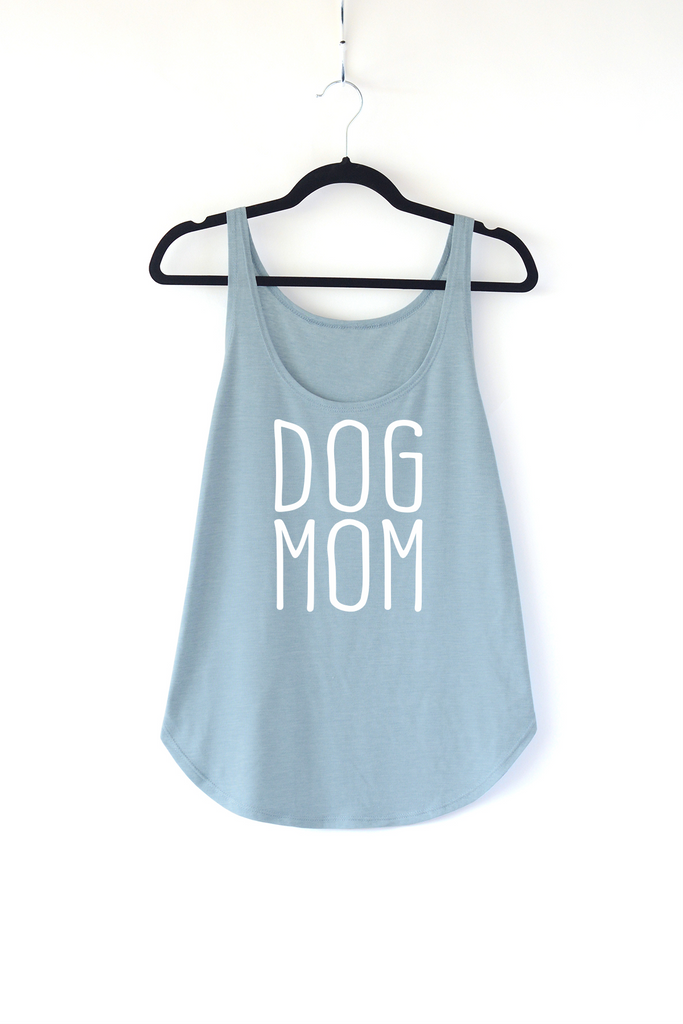 Lucky Franklin Dog Mom Ladies Tank Top in Light Denim