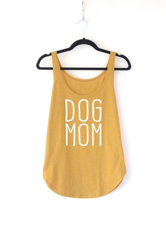 Lucky Franklin Dog Mom Ladies Tank Top in Mustard