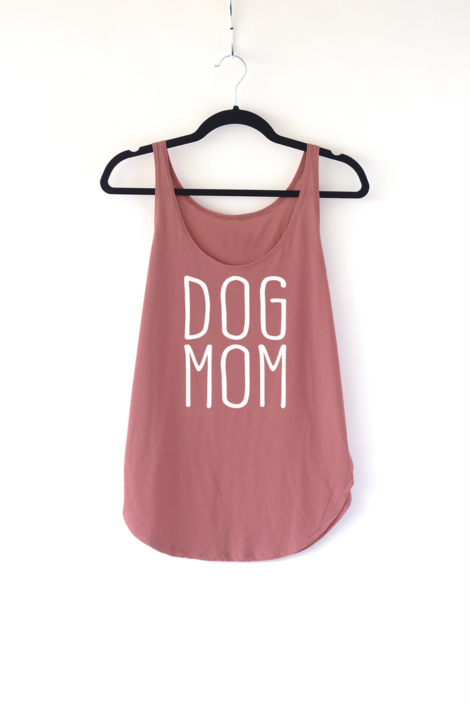 Lucky Franklin Dog Mom Ladies Tank Top in Smoked Paprika