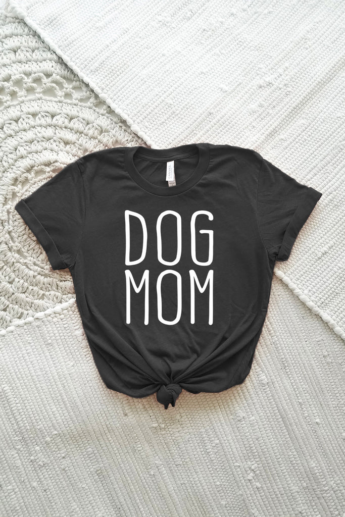 Dog Mom Adult Crewneck Tee in 3413 Charcoal