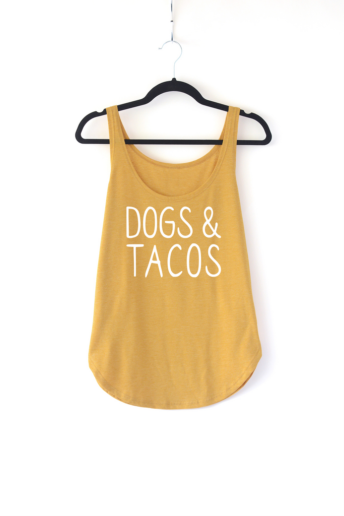 Lucky Franklin Dogs and Tacos Ladies Tank Top in Mustard