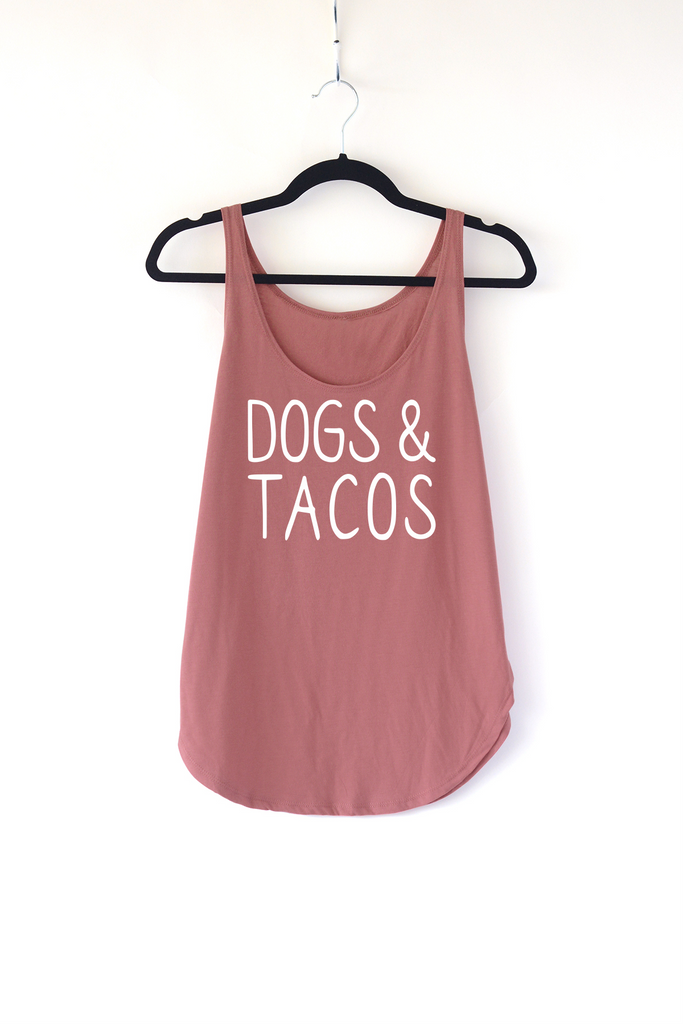 Lucky Franklin Dogs and Tacos Ladies Tank Top in Smoked Paprika