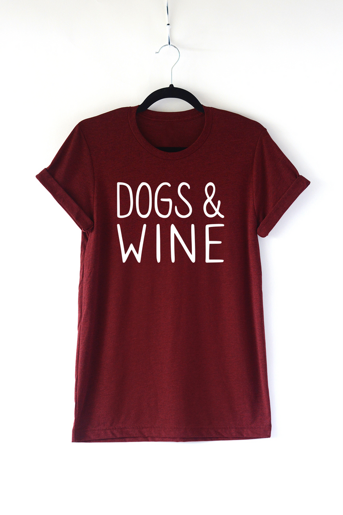 Lucky Franklin Dogs and Wine Adult Triblend Tee in Cardinal