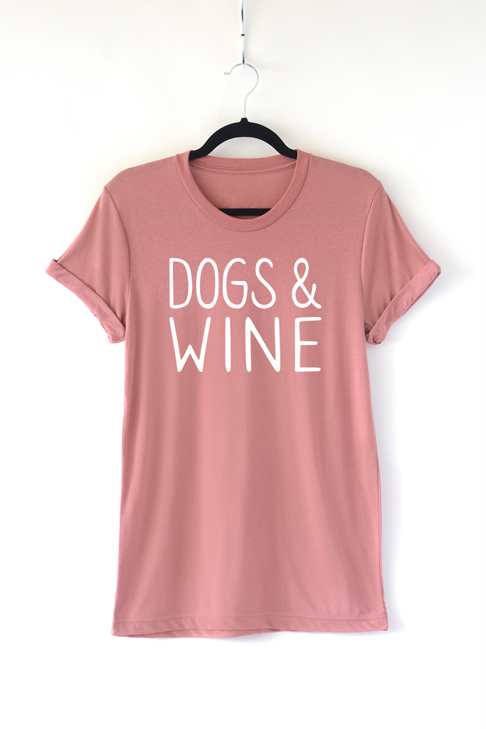 Lucky Franklin Dogs and Wine Adult Triblend Tee in Mauve