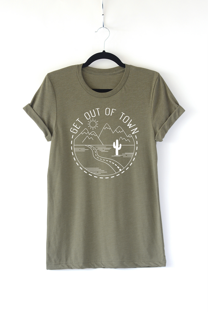 Lucky Franklin Get Out of Town Adult Crewneck Tee in Olive