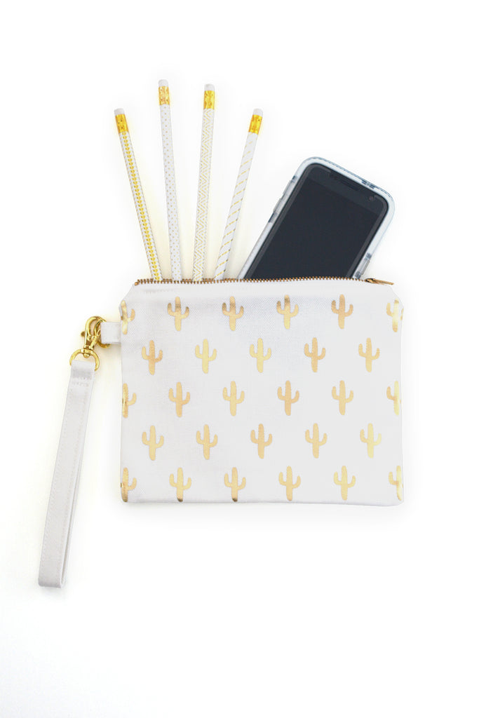 Small Flat Organic Canvas Zip Pouch with Gold Cactus Print