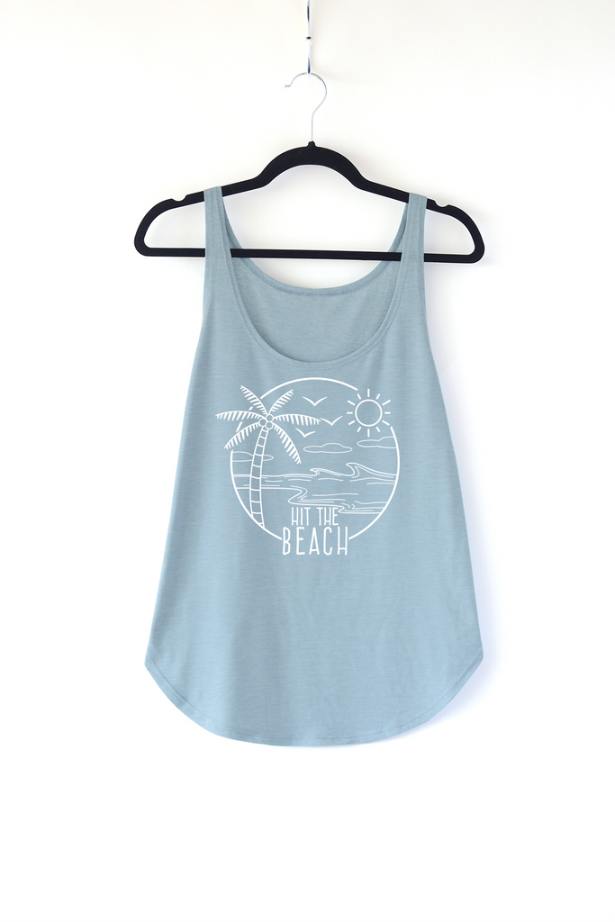 Lucky Franklin Hit The Beach Ladies Tank Top in Light Denim