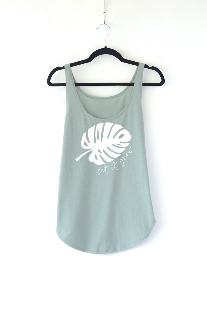 Lucky Franklin Let it Grow Ladies Tank Top in Sage Green