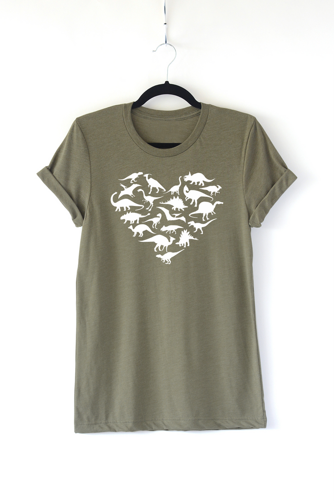Lucky Franklin Love Dinos Adult Crewneck Tee in Olive