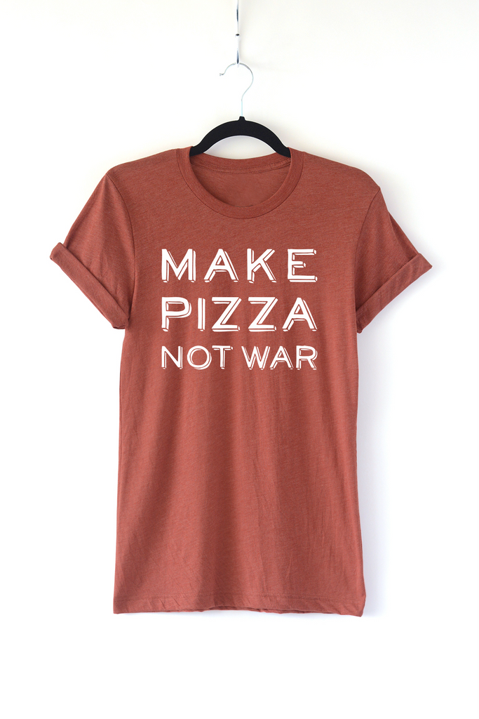 Lucky Franklin Make Pizza Not War Adult Crewneck Tee in Clay