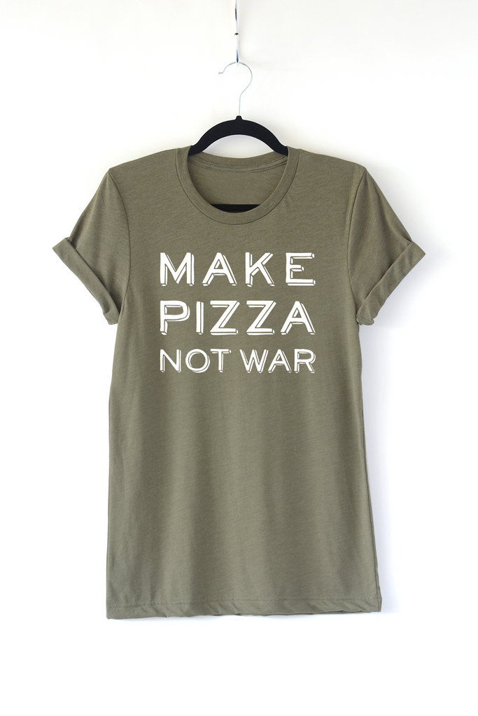 Lucky Franklin Make Pizza Not War Adult Crewneck Tee in Olive