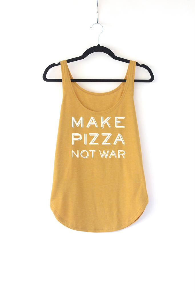 Lucky Franklin Make Pizza Not War Ladies Tank Top in Mustard