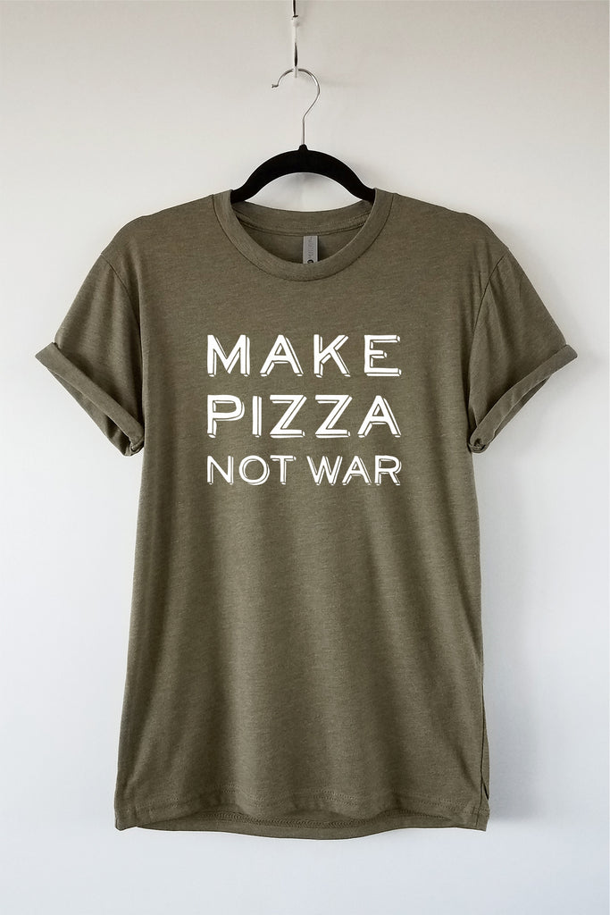Make Pizza Not War Olive Adult Crewneck Triblend Tee - Pizza Lover Tee