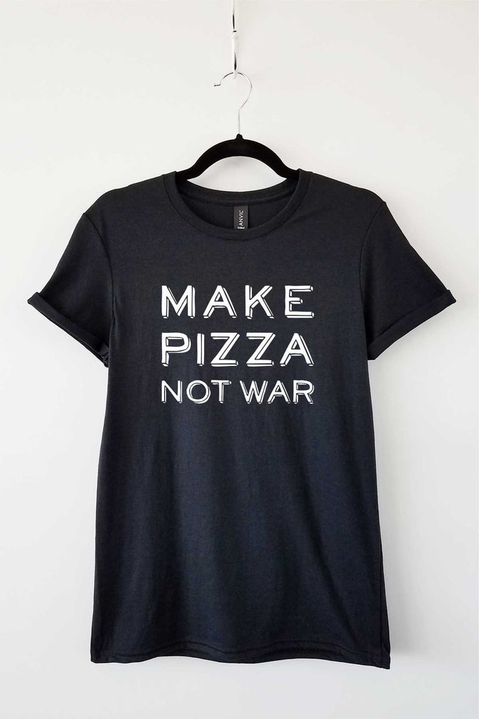 Make Pizza Not War Black Adult Crewneck Triblend Tee Sale