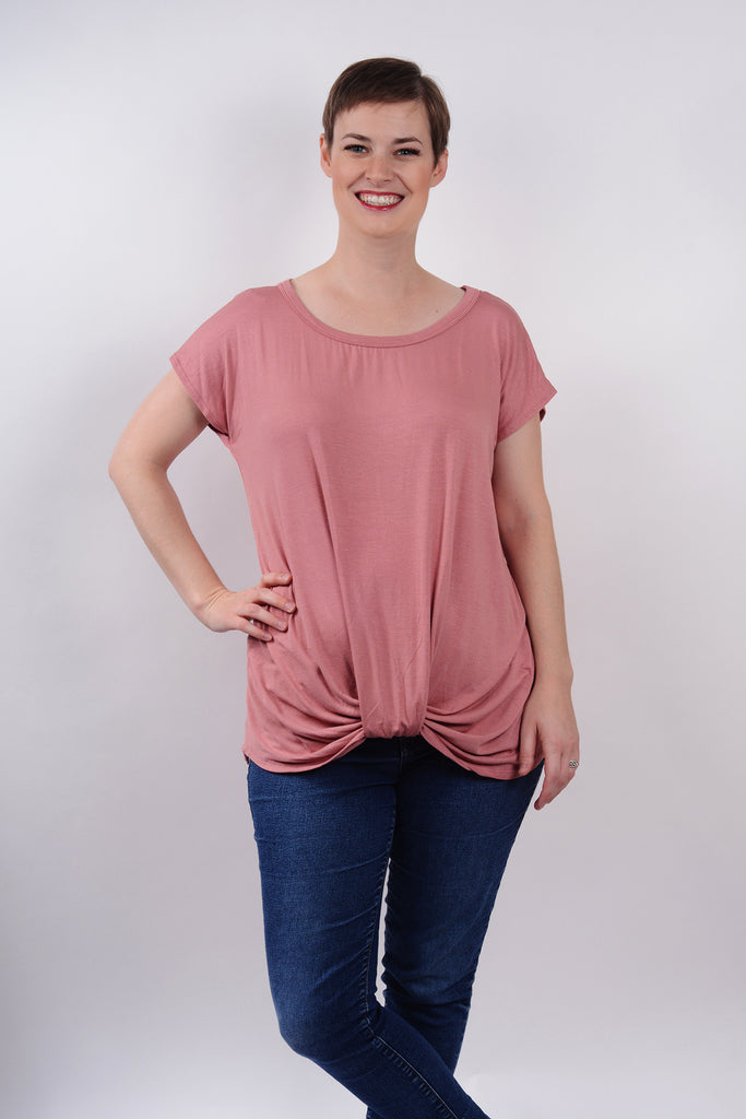 model wearing size S Lucky Franklin Knotted Drape Front Tee in Mauve