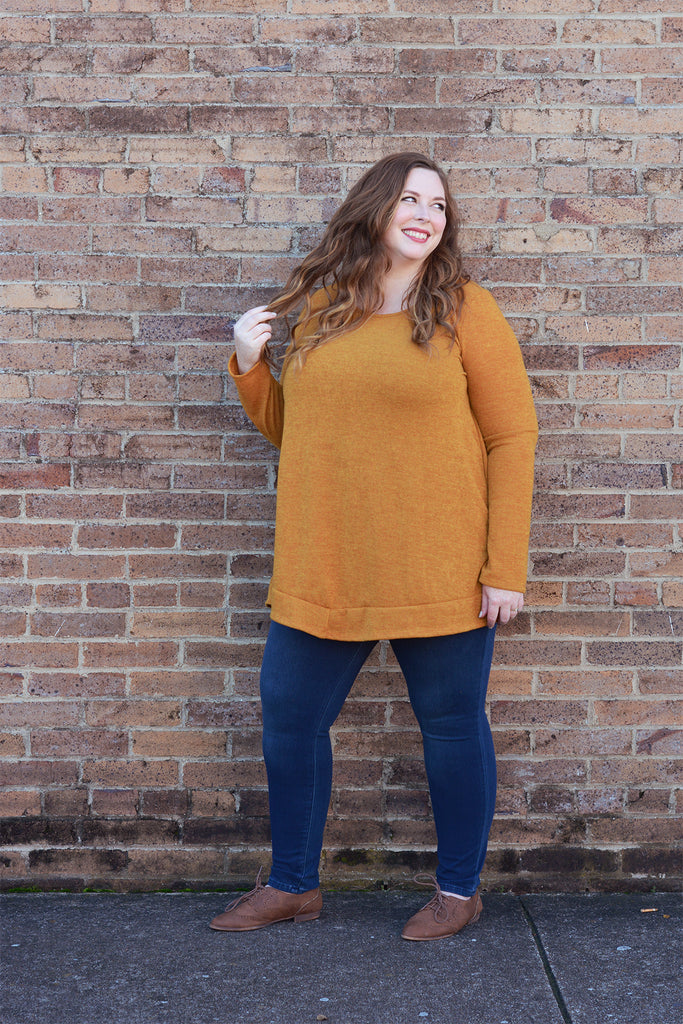 Mustard Button Back Sweater