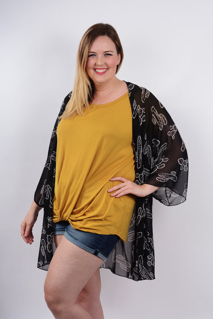 model wearing Mustard Knotted Drape Front Tee and Cactus Kimono