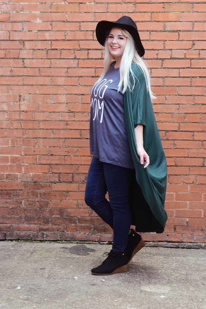 model wearing a size S Lucky Franklin Flowy Draped Cardigan in Forest