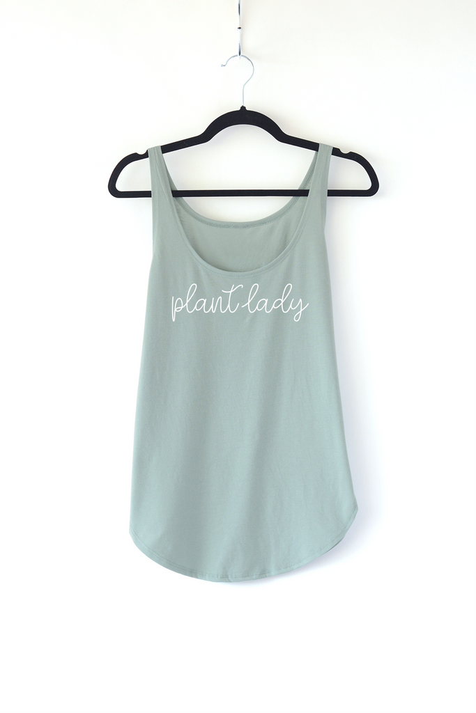 Lucky Franklin Plant Lady Ladies Tank Top in Sage Green