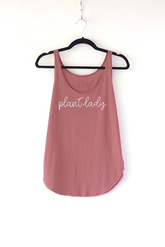Lucky Franklin Plant Lady Ladies Tank Top in Smoked Paprika