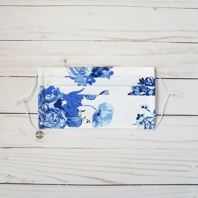 Handmade premium 100% cotton reusable fabric face mask pleated with adjustable elastic in blue and white chinoiserie roses floral print