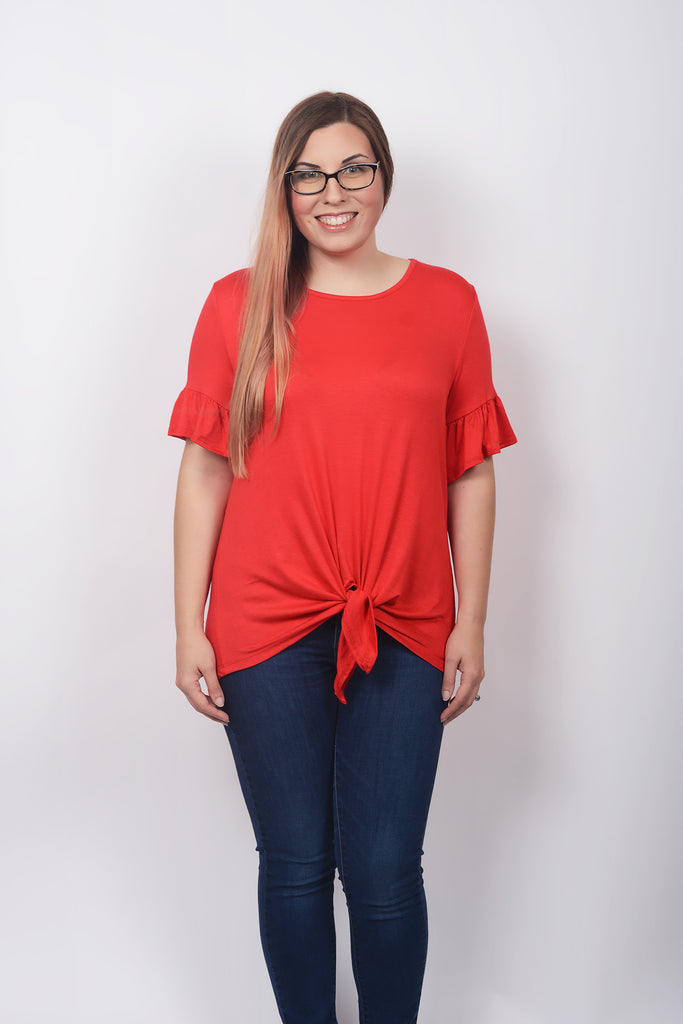 model wearing size M Lucky Franklin Solid Tie Front Tee Poppy Red