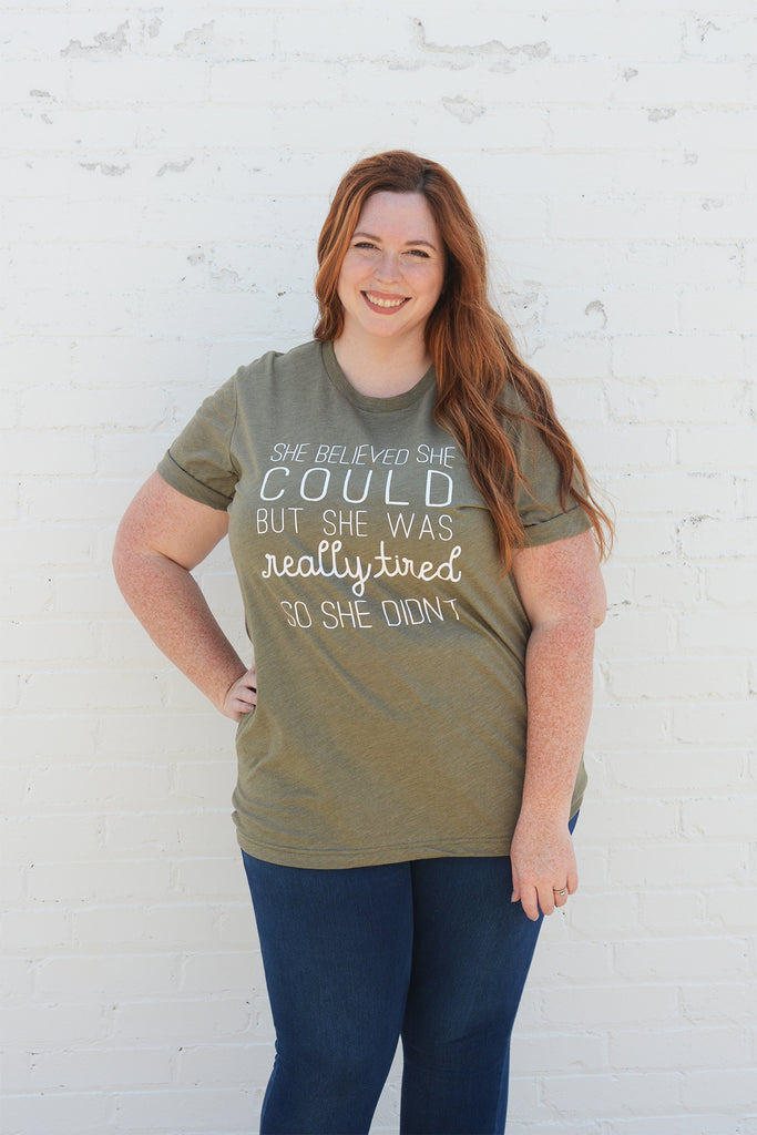 She Believed Olive Tee