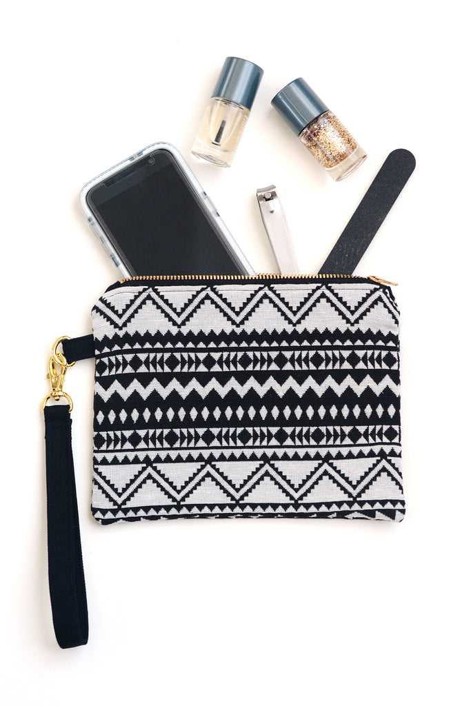 Small Zip Pouch in Boho Southwestern Print