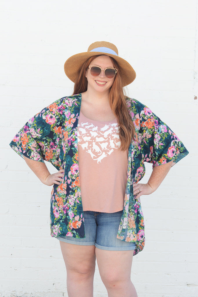 Lucky Franklin Ladies Kimono Teal Blooms Plus Size