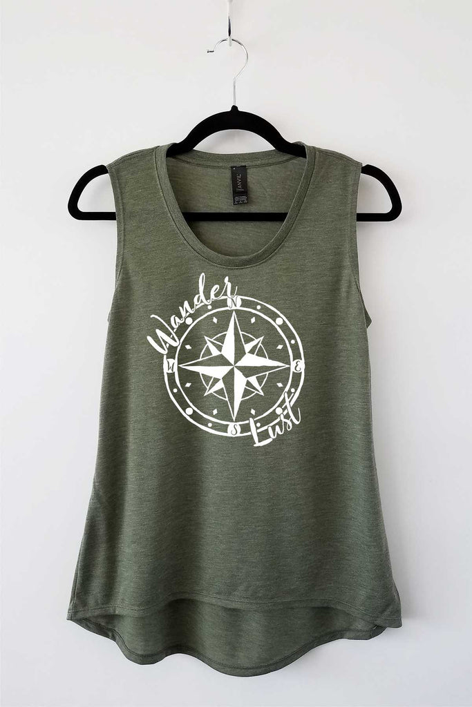 Lucky Franklin Wanderlust Olive Ladies Flowy Tank - Travel Lover Tank Adventure Tank
