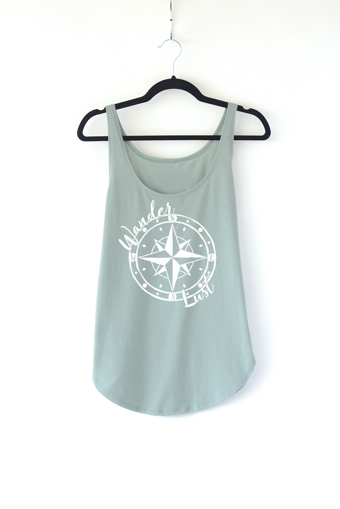 Lucky Franklin Wanderlust Ladies Tank Top in Sage Green