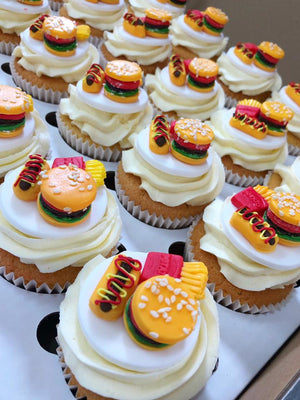 Cupcakes decorated with Burgers, Hot Dogs and French Fries