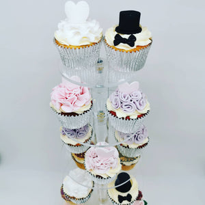 Cupcakes decorated as Bride and Groom and Maid of Honour