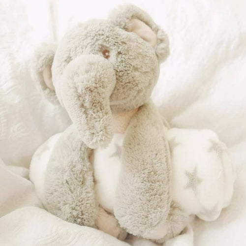 Owen the elephant with fleece blanket ($15 is donated to NSW RFS during the month of Jan) - Nappie Cakes