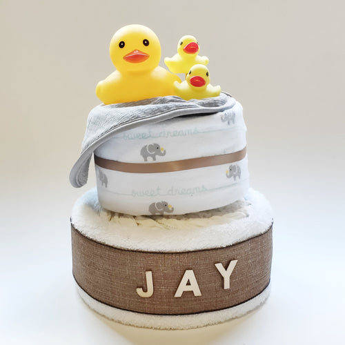 Bath Time 2-Tier Nappy Cake | Unisex - Nappie Cakes