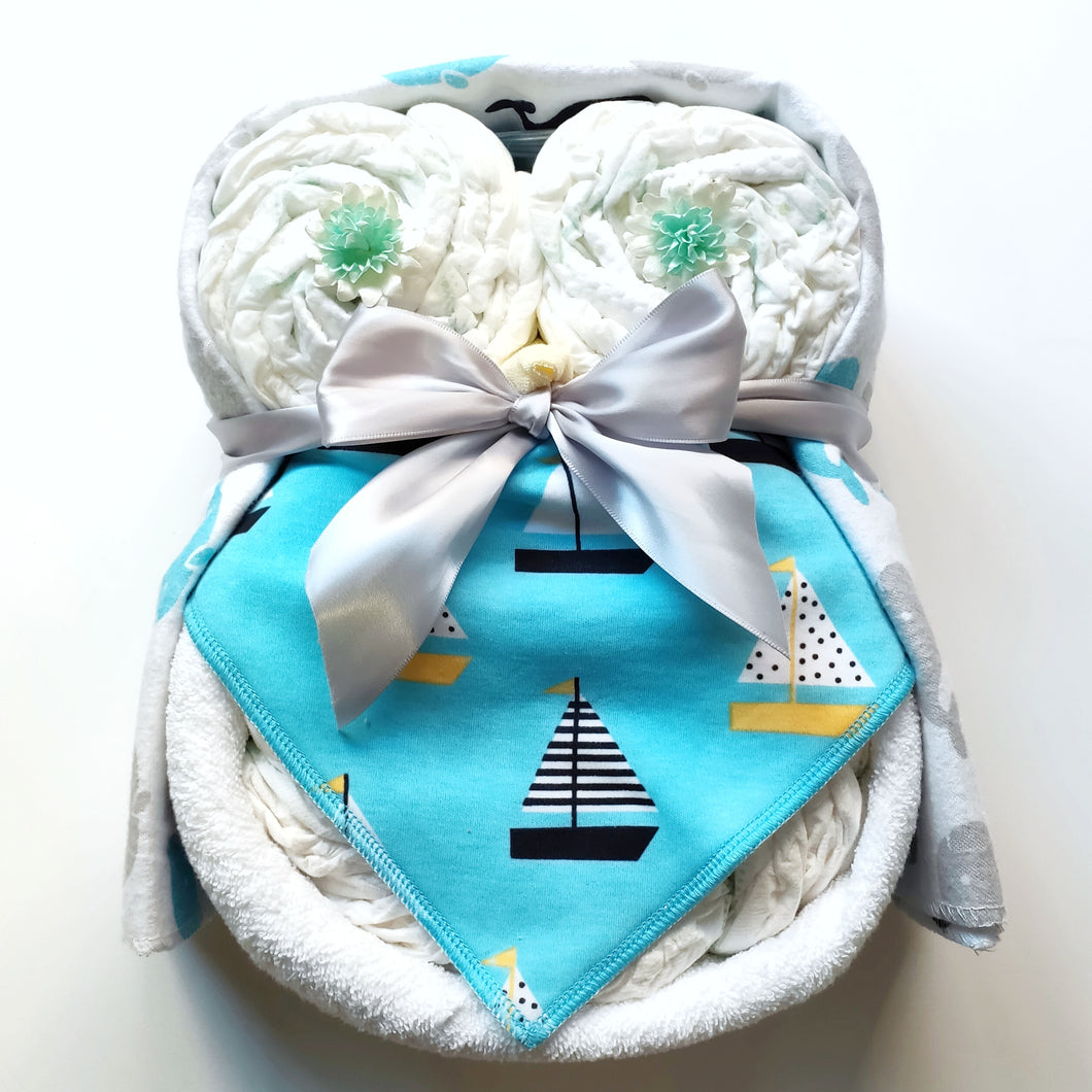 Nappy Cake Owl | Blue with Boats - Nappie Cakes