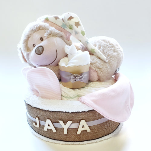 Sleeping Monkey 1-Tier Nappy Cake with Personalised Name | Baby Girl - Nappie Cakes