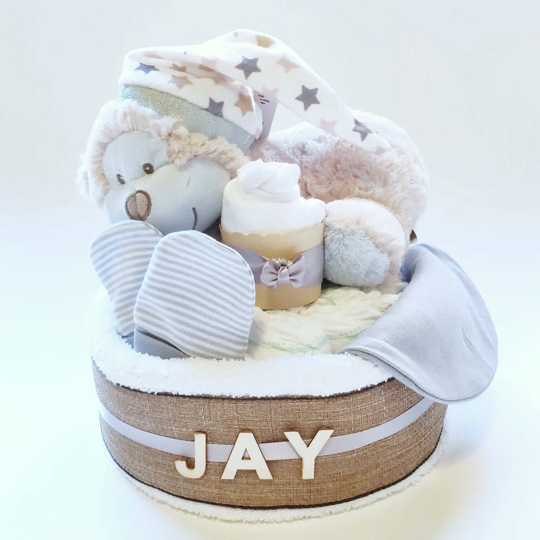 Sleeping Monkey 1-Tier Nappy Cake with Personalised Name | Baby Boy - Nappie Cakes