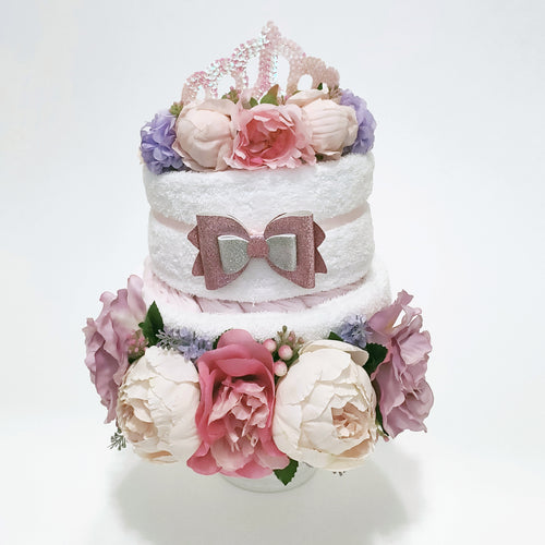 Flower Crown Nappy Cake for Mum and Bub | Pink - LIMITED EDITION - Nappie Cakes