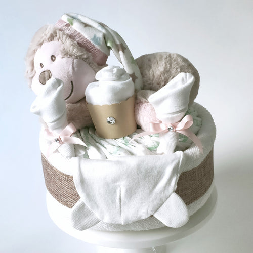 Sleeping Monkey 1-Tier Nappy Cake | Baby Girl