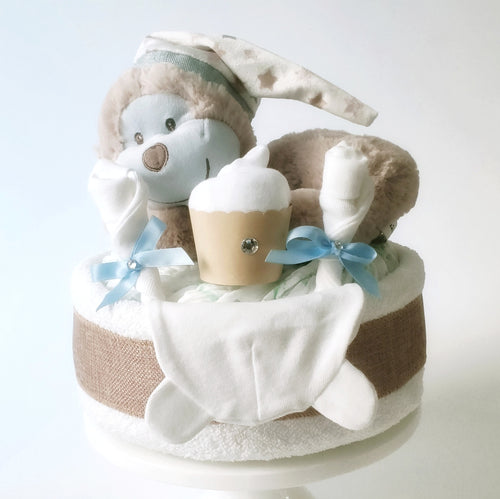 Sleeping Monkey 1-Tier Nappy Cake | Baby Boy