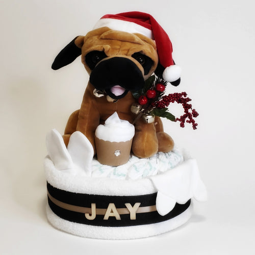 Christmas Singing Pug Animation Nappy Cake - Nappie Cakes