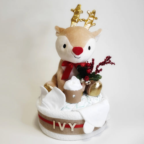 Christmas Singing Reindeer Animation Nappy Cake - Nappie Cakes