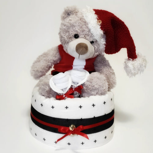 Christmas Teddy Bear Nappy Cake - Nappie Cakes