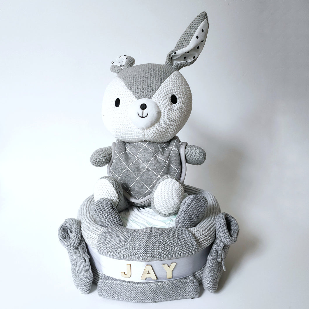 Knitted Buuny 1-Tier Nappy Cake | Grey - Nappie Cakes
