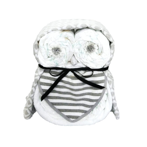 Owl nappy cake (Grey)